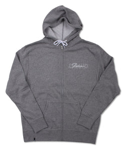 Overlay Zip Hoodie - Heather Grey