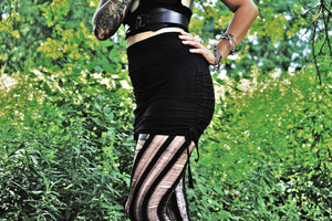 Black High Waist Ruched Gathered Mini Skirt - Wings of Sin