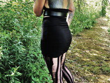 Load image into Gallery viewer, Black High Waist Ruched Gathered Mini Skirt - Wings of Sin