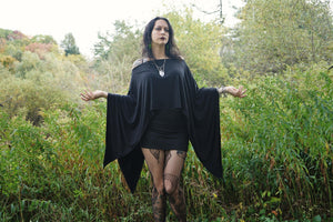 Black Batwing Edgy Poncho Capelet - Wings of Sin