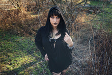 Load image into Gallery viewer, Black Oversized Hooded Poncho Tunic