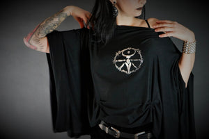 Large Bell Sleeve Wheel of the Year Witch Drape Shirt