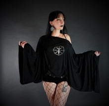 Load image into Gallery viewer, Large Bell Sleeve Wheel of the Year Witch Drape Shirt