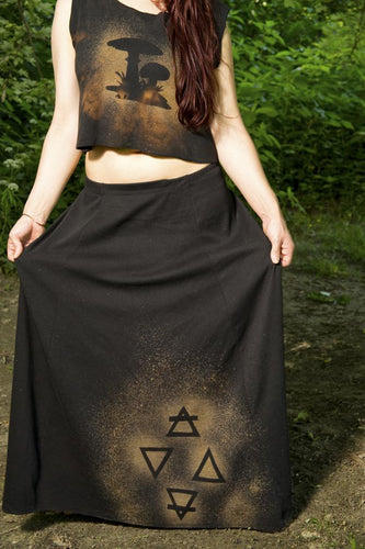 Long Black Maxi Four Elements* Skirt Post Apocalyptic Witch - Wings of Sin
