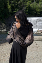 Load image into Gallery viewer, Extra Long Pentacle Pentagram Black Scarf Shawl - Wings of Sin