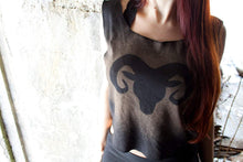 Load image into Gallery viewer, Ram Goat Silhouette Cropped Loose Tank - Wings of Sin