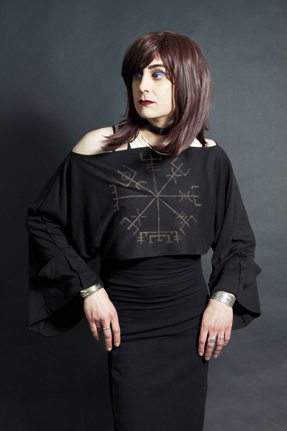 Vegvisir Viking Compass Long Sleeved Cropped Shrug Jacket Shawl Icelandic Stave - Wings of Sin