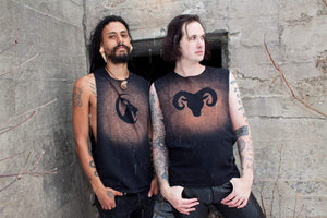 Ram Goat Horned Beast Stained Sleeveless T-Shirt Tank Top - Wings of Sin