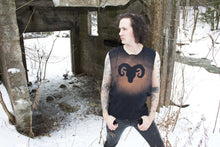 Load image into Gallery viewer, Ram Goat Horned Beast Stained Sleeveless T-Shirt Tank Top - Wings of Sin