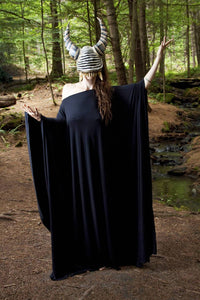 Long Black Kaftan Dress Long Sleeve Off the Shoulder Maxi Over Size Large Dress - Wings of Sin