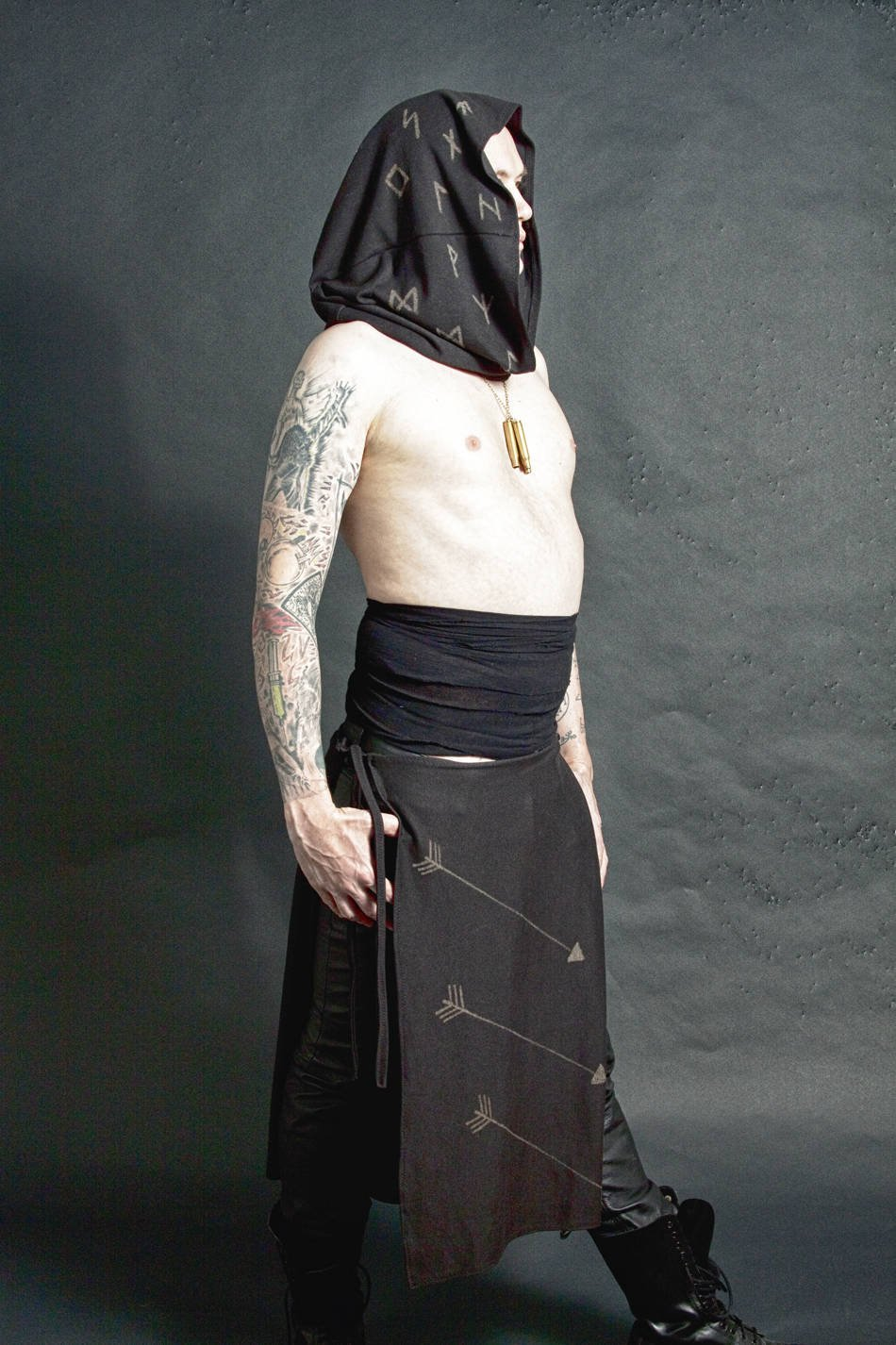 Triple Arrow Black Stained Panel Skirt Loincloth - Wings of Sin