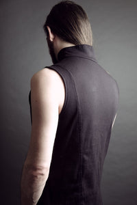 Black Sleeveless High Neck Tank Top - Wings of Sin