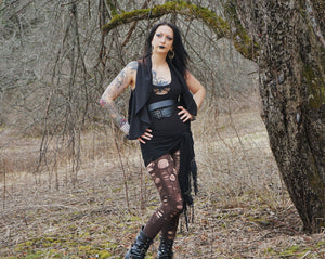 Medusa* Waist Length Open Vest - Wings of Sin