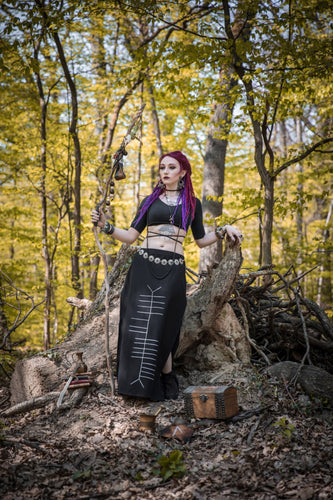 Sidhe Ogham Celtic Witch Double Slit Long Maxi Skirt - Wings of Sin