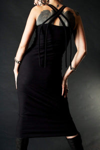 Tea Length Black Tube Dress Strappy Back - Wings of Sin