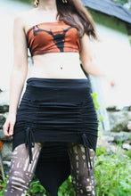 Load image into Gallery viewer, Gathered Front Ruched Pointed Black Pixie Skirt - Wings of Sin