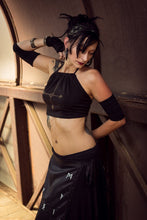 Load image into Gallery viewer, Middle Earth Stained Cropped Black Halter Top - Wings of Sin