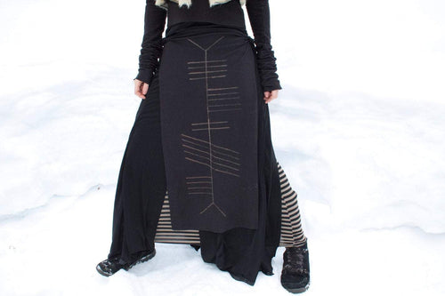 Crone Ogham Stained Panel Skirt Loincloth - Wings of Sin