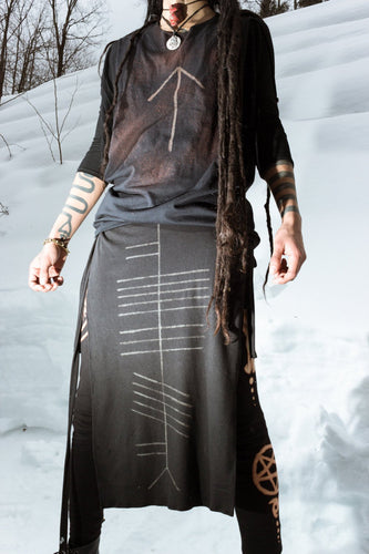 Druid Ogham Panel Skirt Loincloth Wrap - Wings of Sin