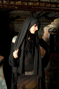 Flowing Hooded Shawl Wrap Vest Shirt - Wings of Sin