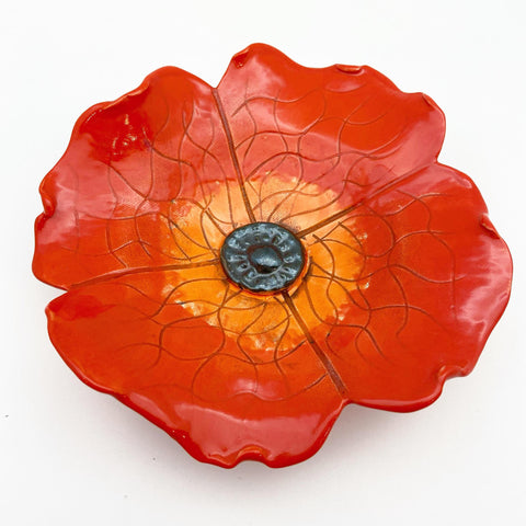 Ceramic Wall Art - Red/Orange Flower - Small