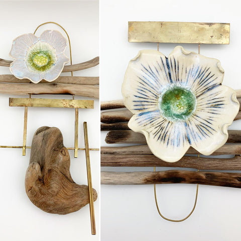 Wall Art - Driftwood and Ceramic Totem - Medium