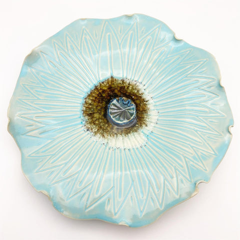 Ceramic Wall Art - Icy Blue Flower - Medium