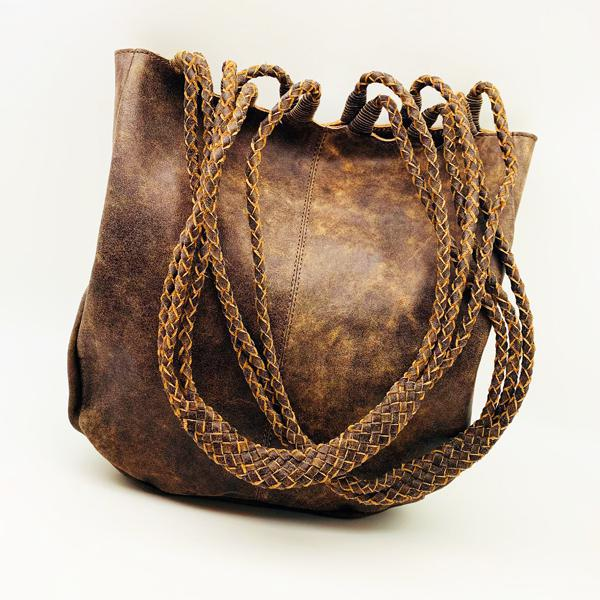 Bag - Leather Braided Strap Handbag