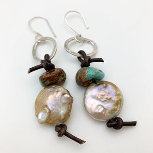 Earrings - Leather, Pearl, and Sterling