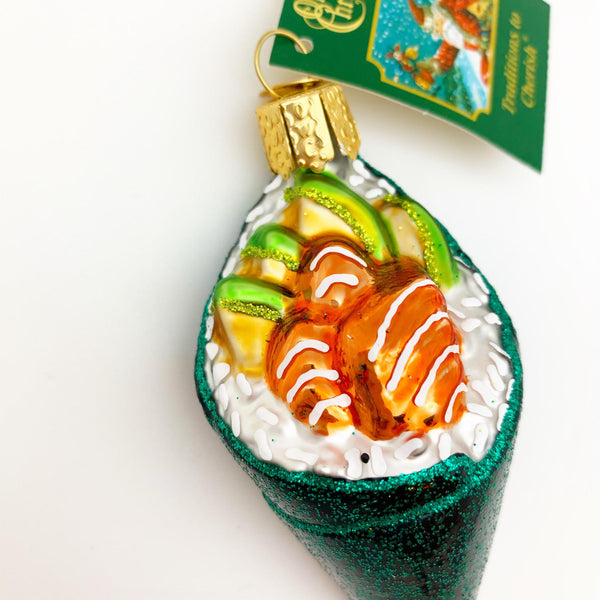 Ornament - Blown Glass - Sushi Hand Roll
