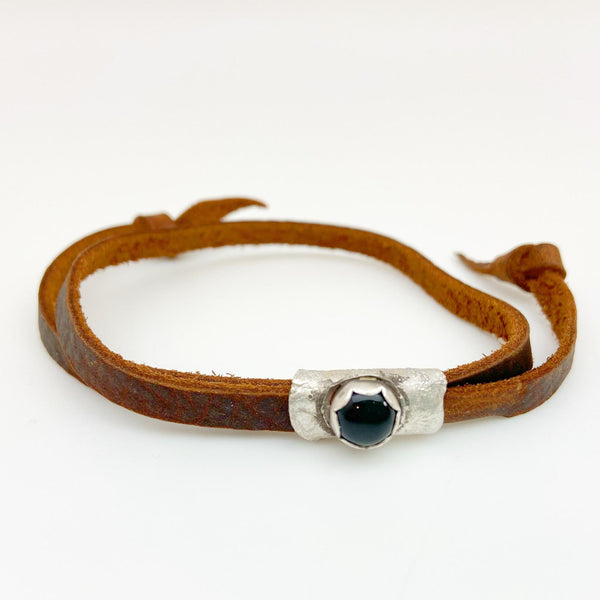 Leather Bracelet - Sterling and Stone Accents - Designed for Men & Women