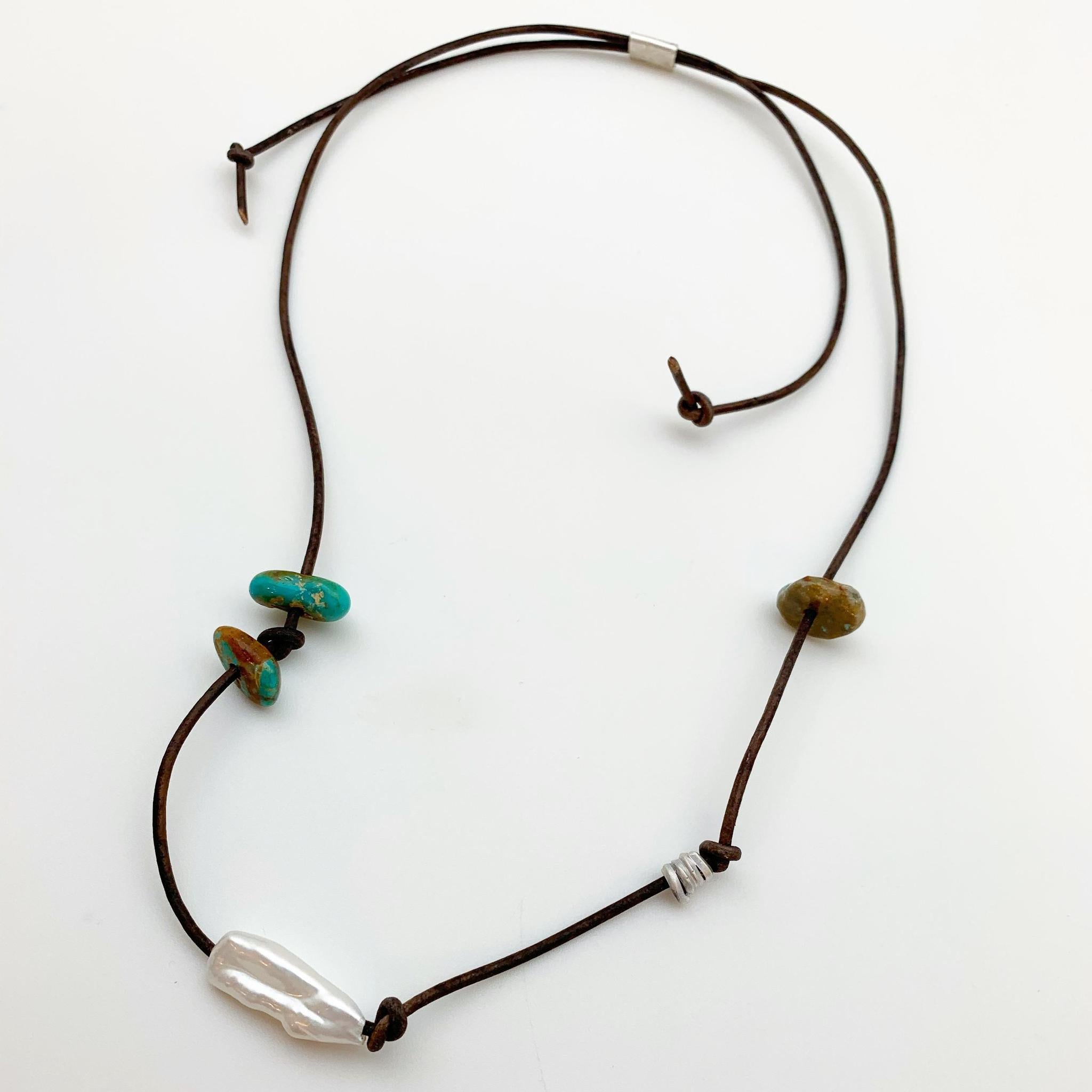 Necklace - Mixed Beads on Leather