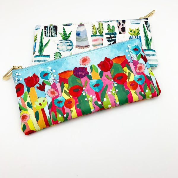 Zippered Pouch - Flowers & Succulents