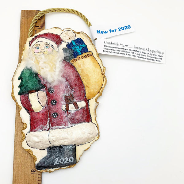 Handmade Paper Ornament - Furry Beard Santa