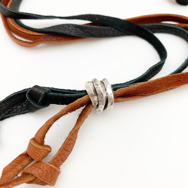 Necklace - Mixed Sterling Stacks on Leather