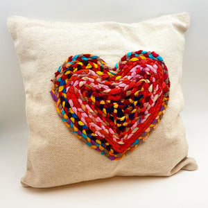 Pillow - Heart in Braided Rag Rope