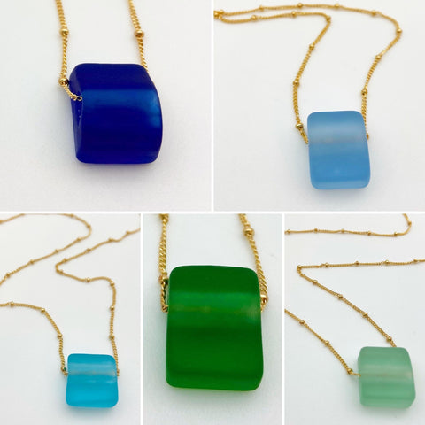 Necklace - Reclaimed Glass Cube - 14kt Gold Fill Chain