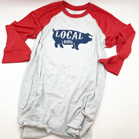 Tee - Local BBQ - Baseball 3/4 Sleeve