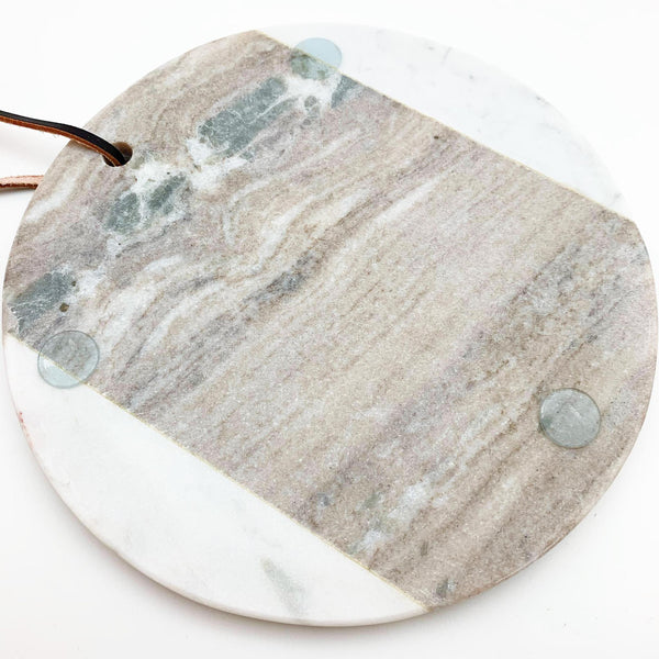 Charcuterie Board - Round Marble - Gray