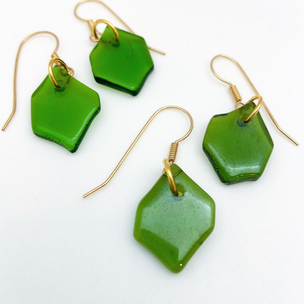 Earrings - Baby Hex - Reclaimed Glass (Question Mark Earwire)