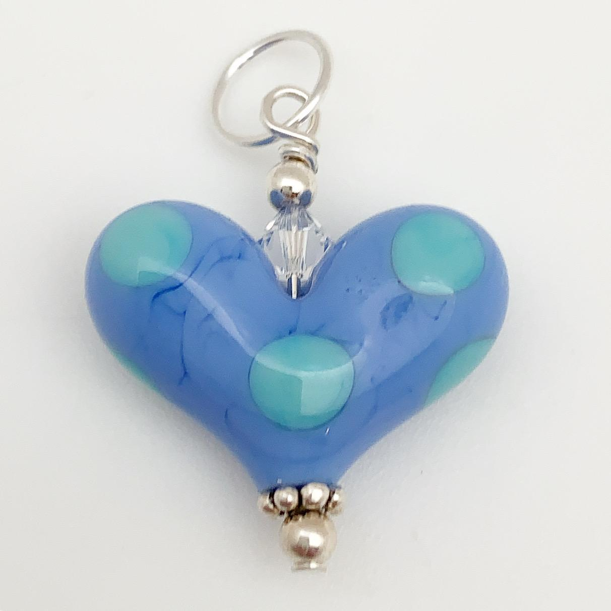 Pendant - Glass Heart - Turquoise Polka Dot - Small