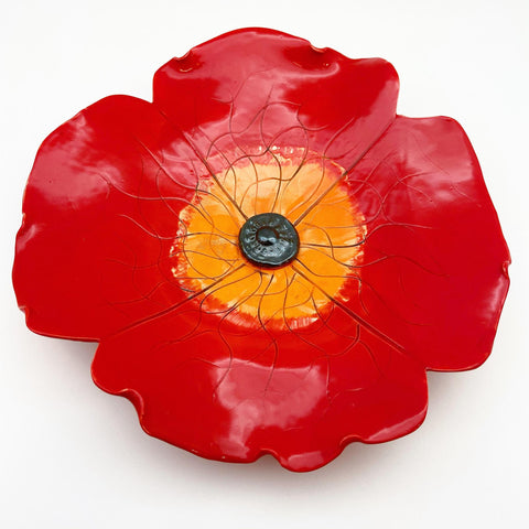 Ceramic Wall Art - Red Poppy Flower - Medium