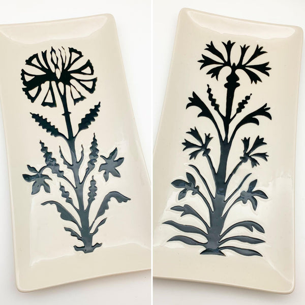 Tray - Embossed Ceramic - Modern Floral