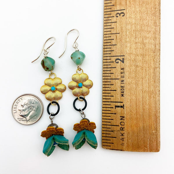 Earrings - Vintage Bead Originals - Gold Flowers