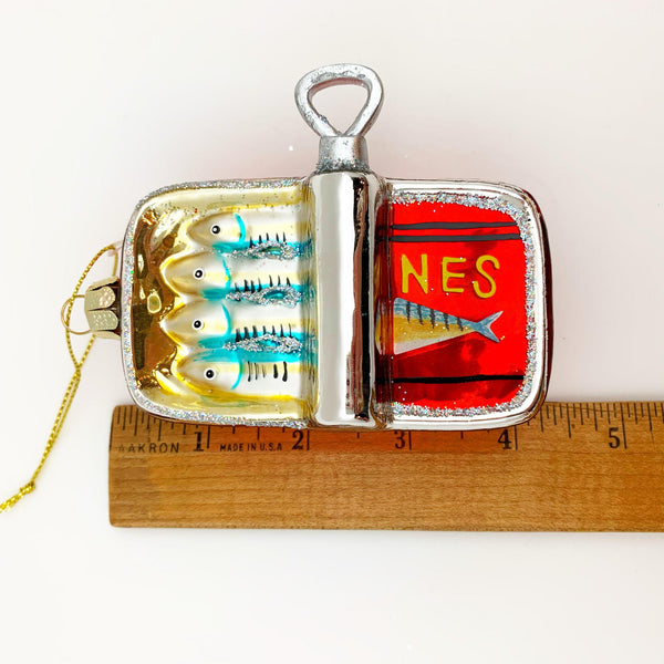 Ornament - Blown Glass - Can of Sardines