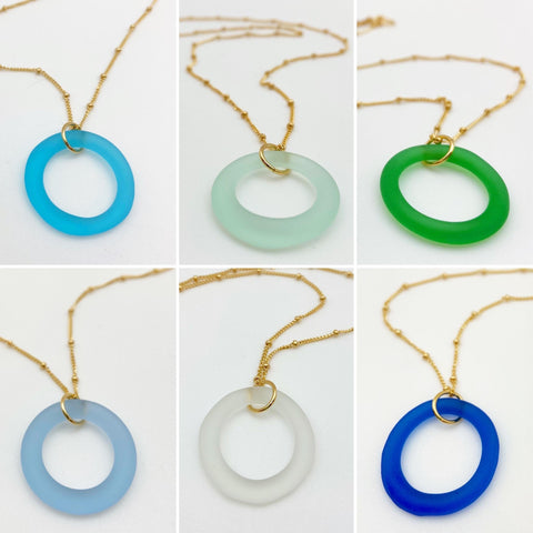 Necklace - Reclaimed Glass Circle - 14kt Gold Fill Chain