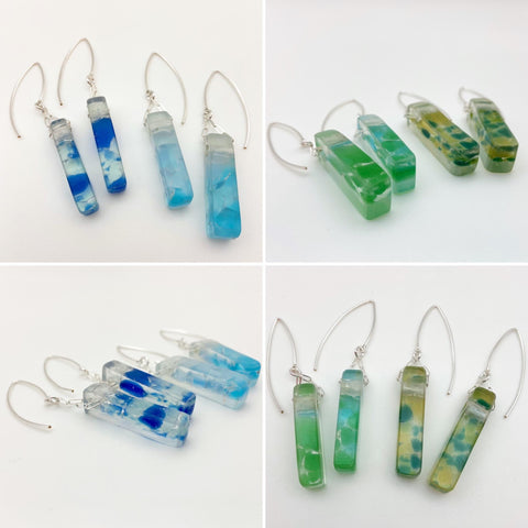 Earrings - Relcaimed Glass Stiletto - Sterling Silver Wire