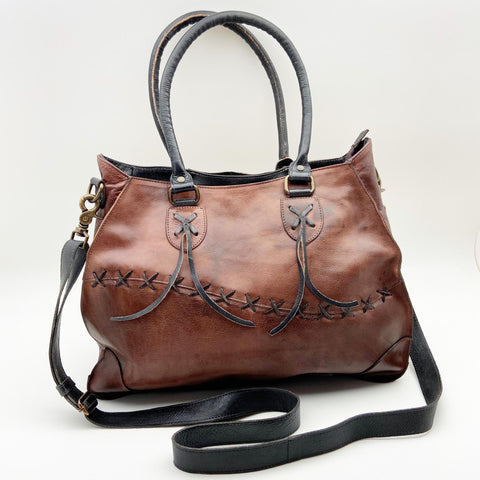 Handbag - Leather with Double Strap - Convertible