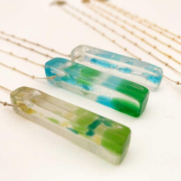 Necklace - Glass Slab on Silver Chain - Fused Recycled Glass