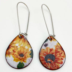 Earrings - Enamel Originals - Short Flower Teardrops